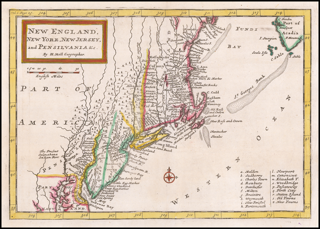 New England, New York, New Jersey and Pensilvania By Herman Moll