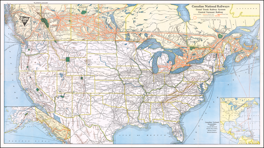 Canadian National Railways Grand Trunk Railway System Central Vermont Railway / Tourist's Map of Canada and Connections in the United States . . .  By Canadian National Railway
