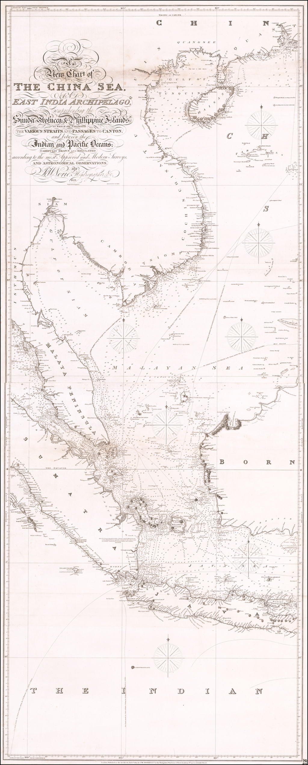 A New Chart of the China Sea, and East India Archipelago, Comprehending the Sunda Molucca & Phillippine Islands in which are exhibited the Various Straits and Passages to Canton, and between the Indian and Pacific Oceans. . . 1821.  Additions to 1826. By John William Norie