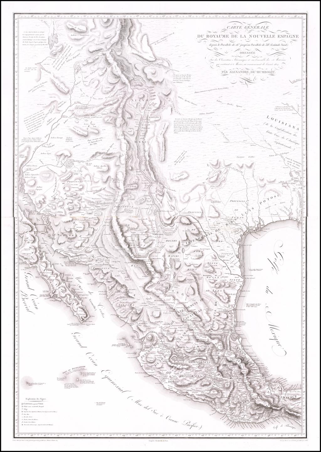 Carte Generale du Royaume de la Nouvelle Espagne depuis le Parallele de 16o jusqua'au Parallele de 58o (Latitude Nord) Dressee sur des observations . . . commencement de l'annee 1804 . . . By Alexander Von Humboldt