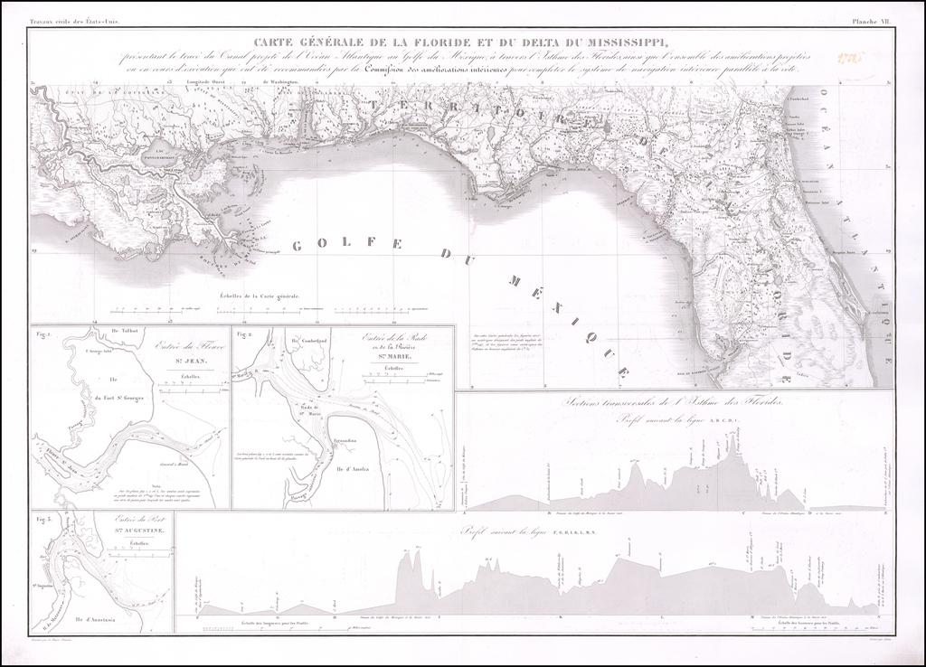 Carte Generale de la Floride et du Delta du Mississippi, presentant le trace du Canal projete  de l'Ocean Atlantique ou Golfe du Mexique a travers l'Isthme des Florides, ainsi que l'ensemble des ameliorations projetees ou en cours d'execution ont ete recommandees . . .  By Guillaume-Tell Poussin