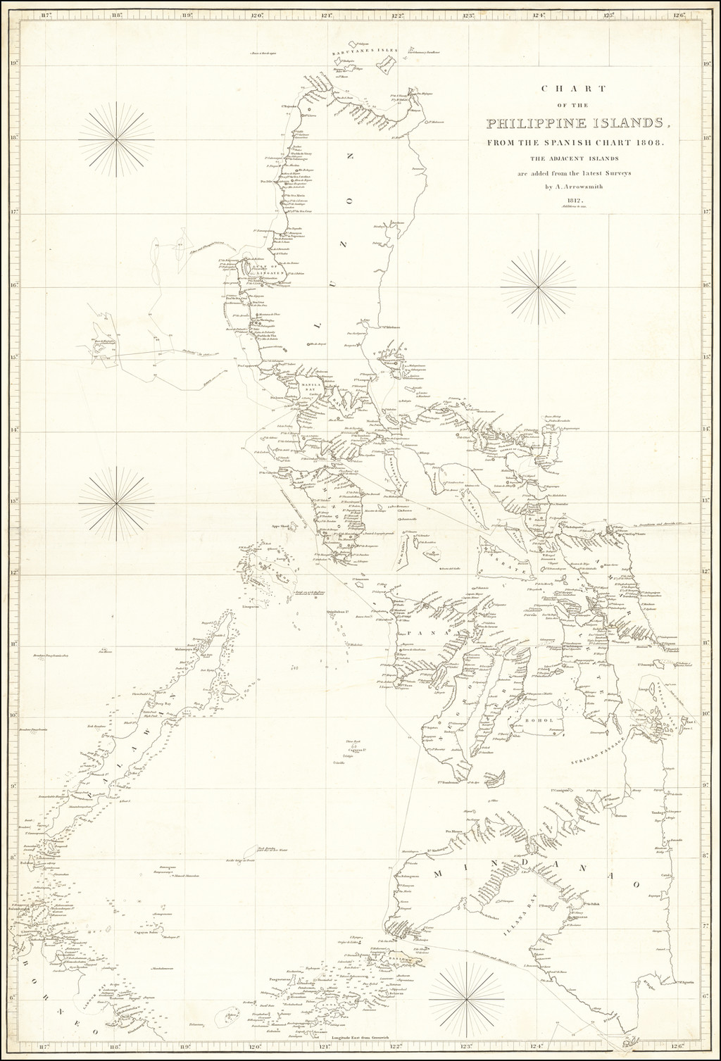 Chart of the Philippine Islands, from the Spanish Chart 1808. The Adjacent Islands are added from the latest Surveys by A. Arrowsmith 1812.  Additions to 1818 By Aaron Arrowsmith