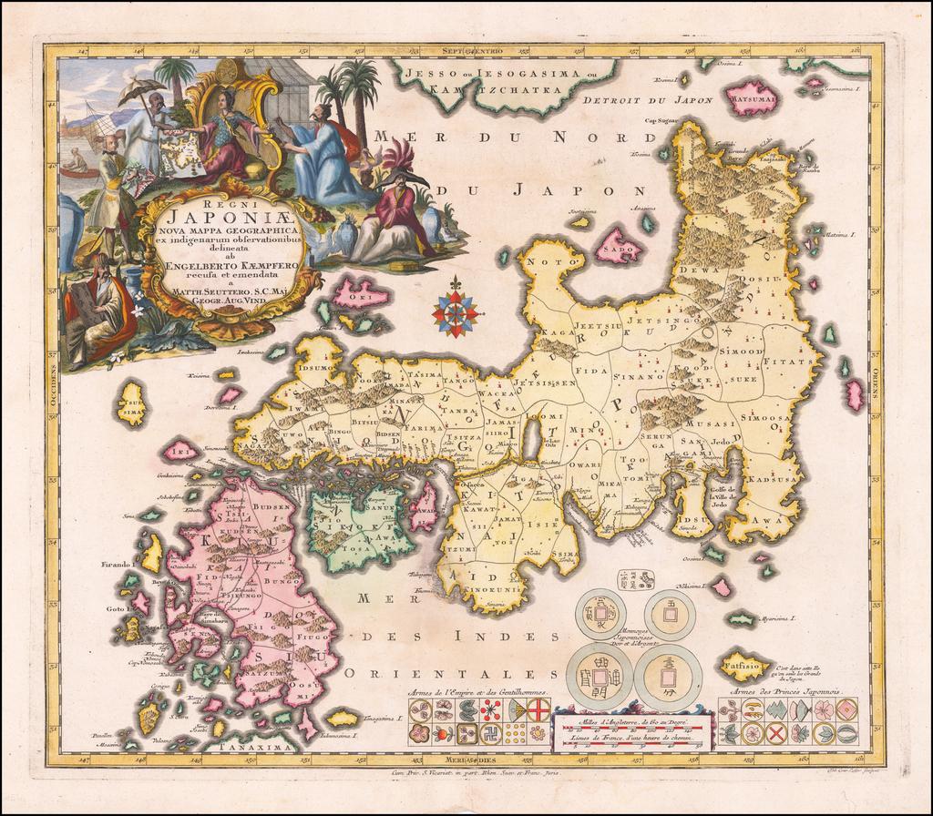 Regni Japoniae Nova Mappa Geographica ex indigenarum observationibus delineata ab Engelberto Kaempfero recusa et emendata . . .  By Matthaus Seutter