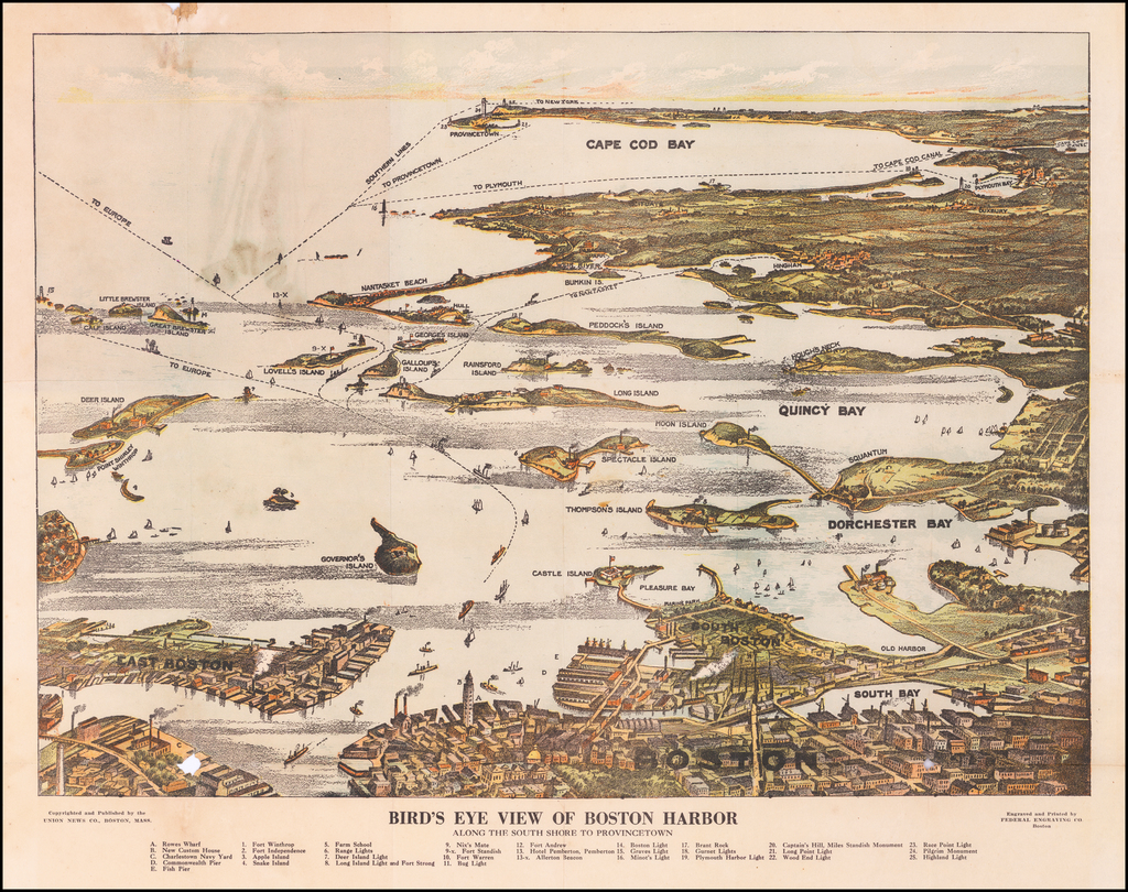 Bird's Eye View of Boston Harbor Along The South Shore To Provincetown By Union News Co.