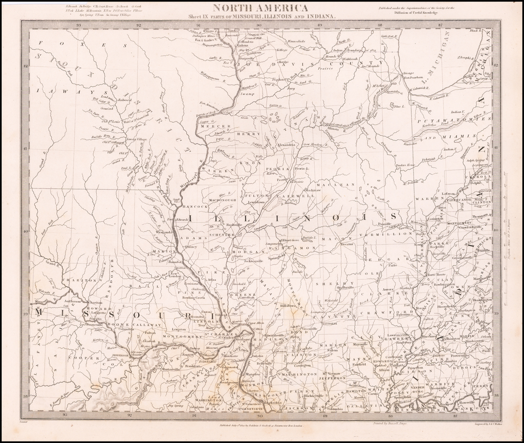 North America Sheet IX Parts of Missouri, Illinois and Indiana [and the Sioux District] By SDUK