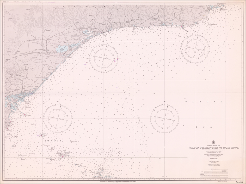 Australia -- South East Coast   Wilson Promontory to Cape Howe From Royal Navy Surveys of 1949 and 1953 . . .  By Royal Australian Navy Hydrographic Office