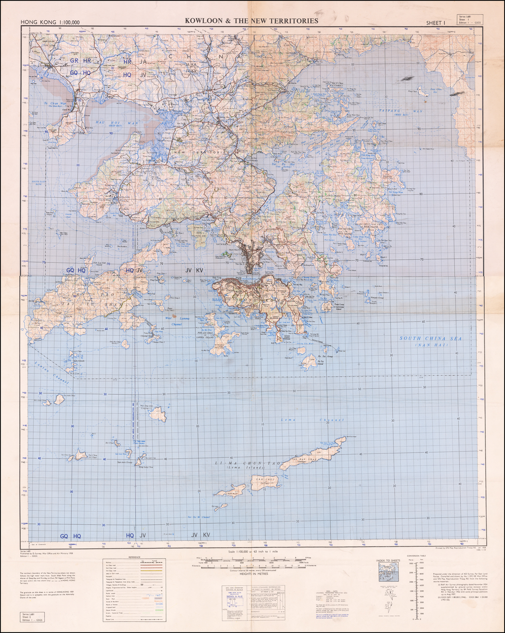 Hong Kong 1:100,000 Kowloon & The New Territories By War Office