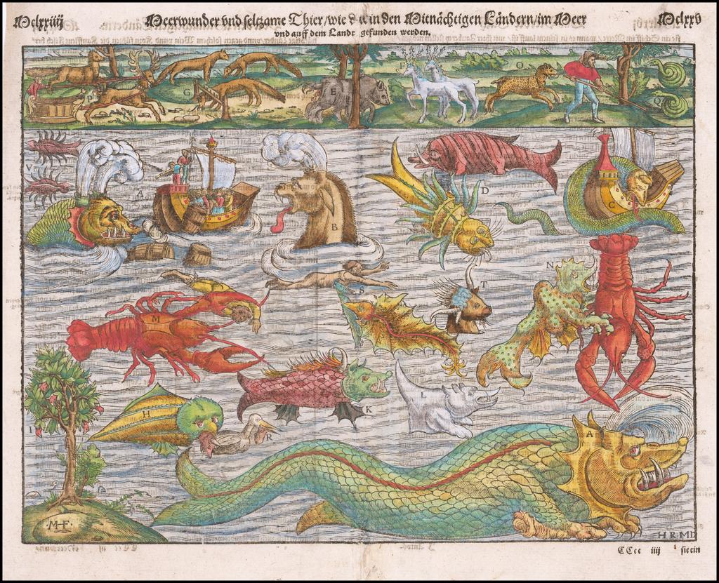 Meerwunder und Seltzame Thier/Wie Die In Den Mitnacßtigen Landern Gefunden Werden [Munster's Famous Chart of Sea Monsters] By Sebastian Münster
