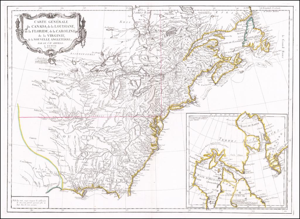 Carte Generale du Canada, de la Louisiane, de la Floride, de la Caroline, de la Virginie, de la Nouvelle Terre Par Le Sr. D'Anville . . . 1776 By Paolo Santini