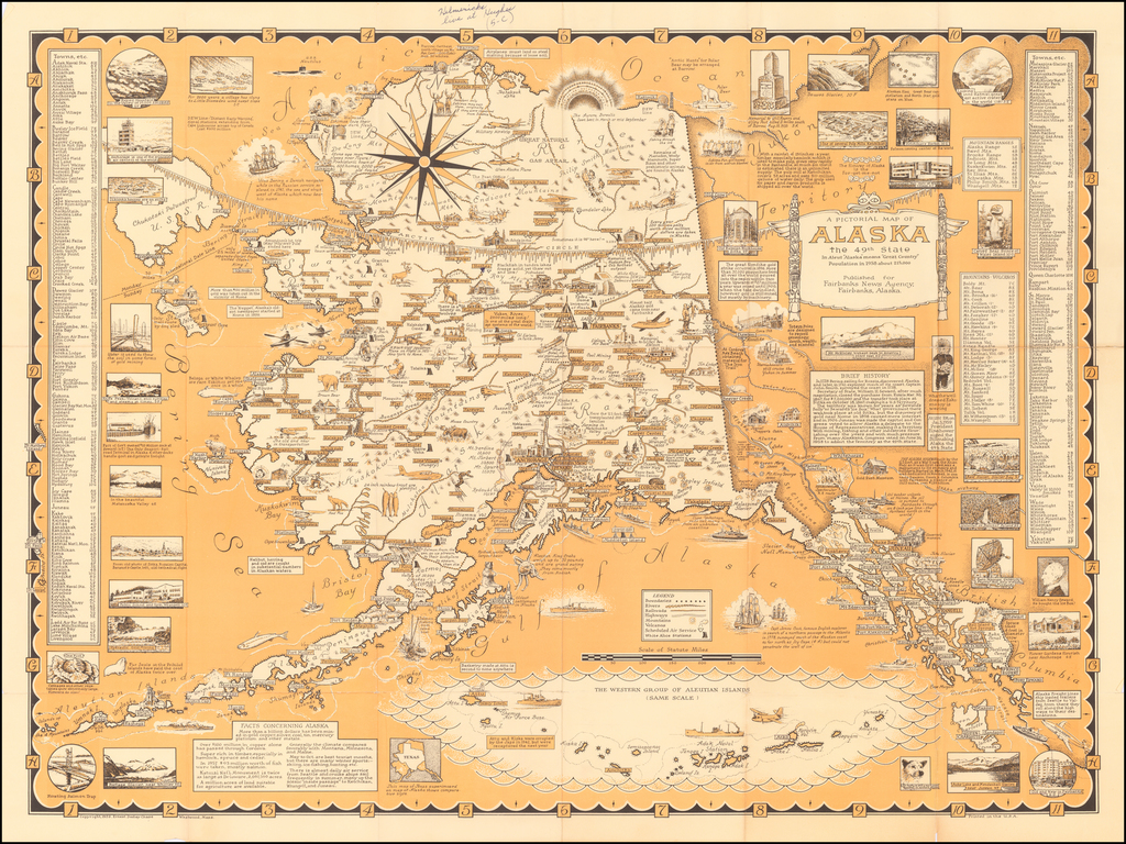 A Pictorial Map of Alaska the 49th State . . .  By Ernest Dudley Chase