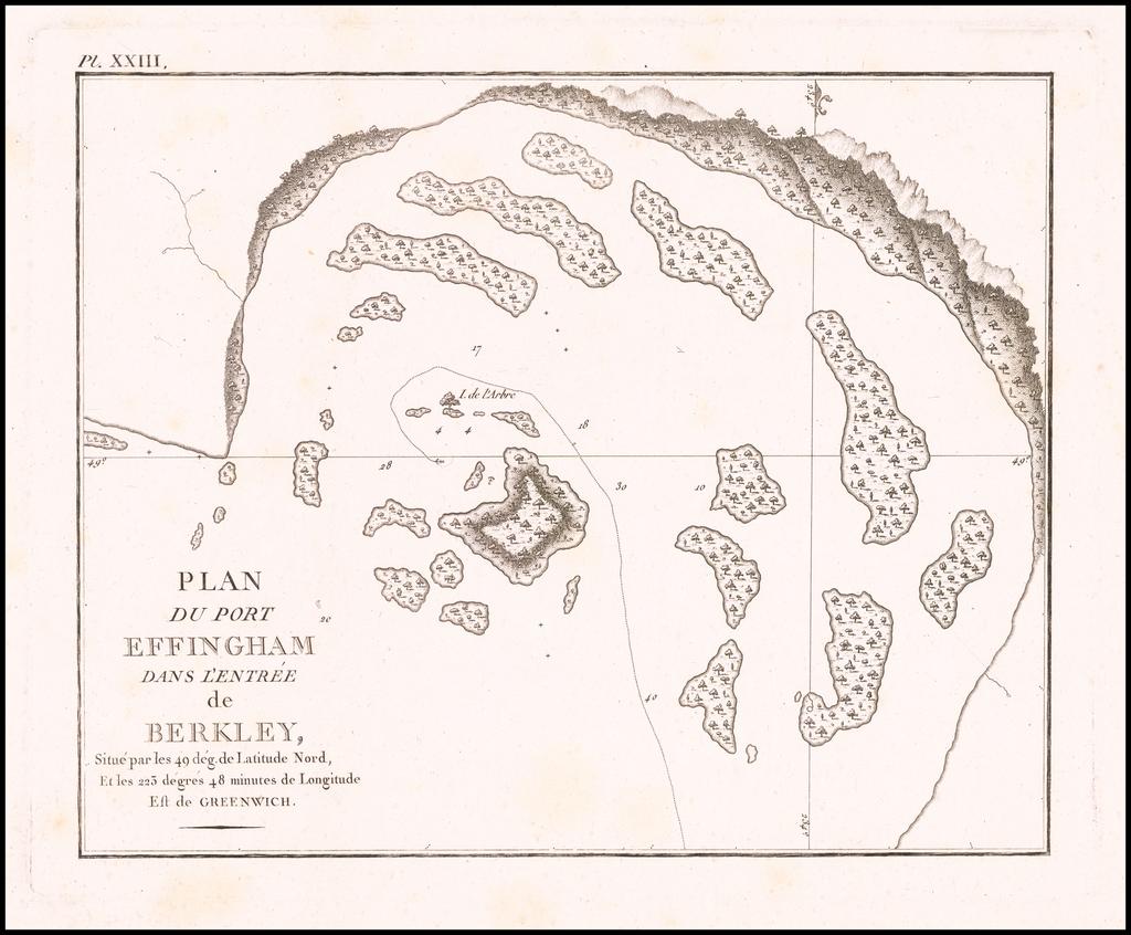 Plan du Port Effingham Dans L'Entree de Berkley, Situé par les 49 dég. de Latitude Nord, Et les 223 degrees 48 minutes de Longitude Est de Greenwich By John Meares