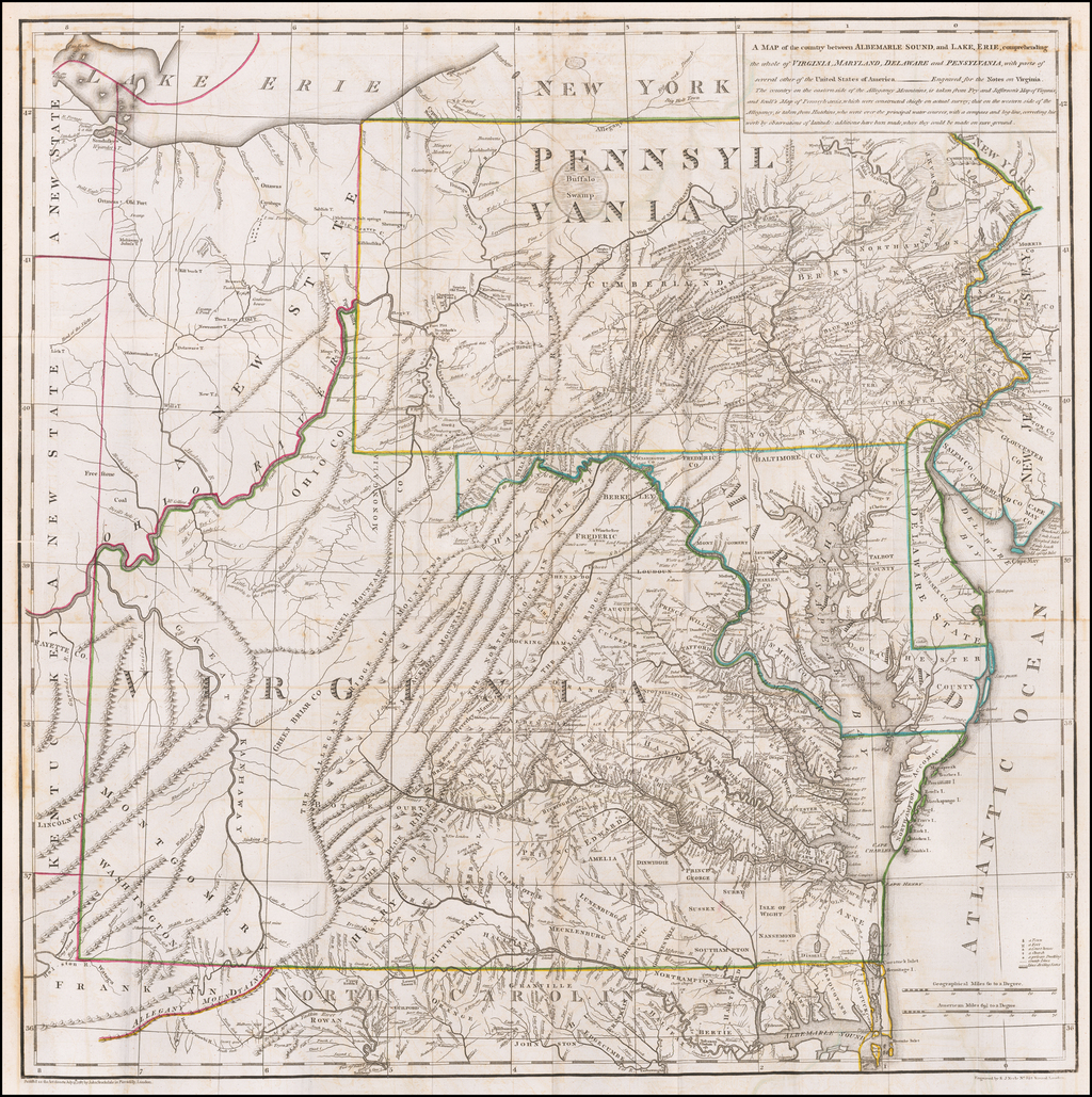 A Map of the country between Albemarle Sound, and Lake Erie, comprehending the whole of Virginia, Maryland, Delaware and Pensylvania . . . By Thomas Jefferson
