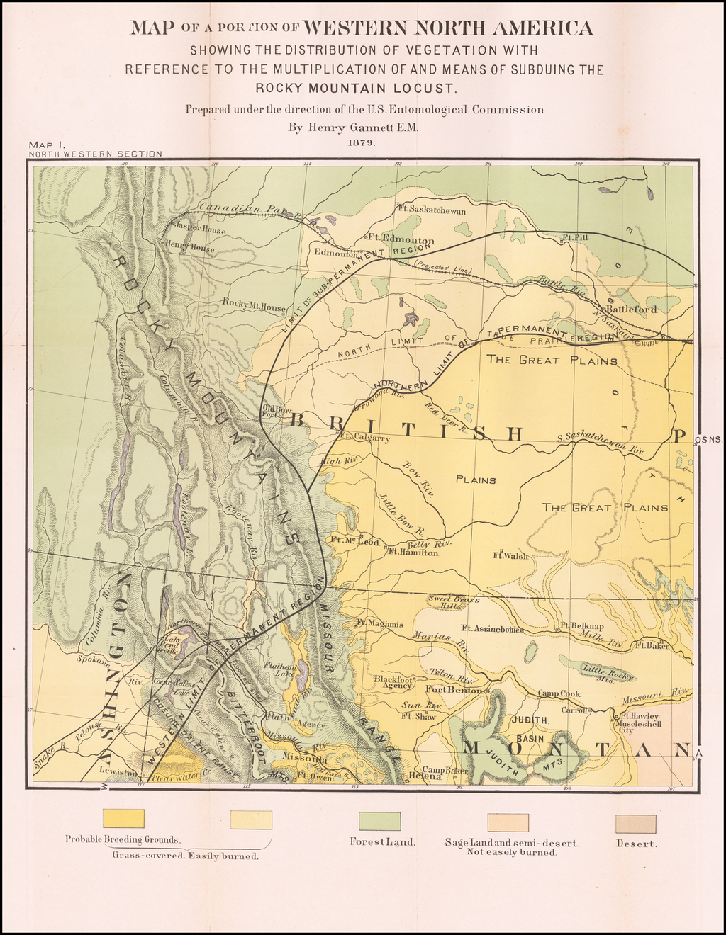 Map of a Portion of Western North America Showing The ...