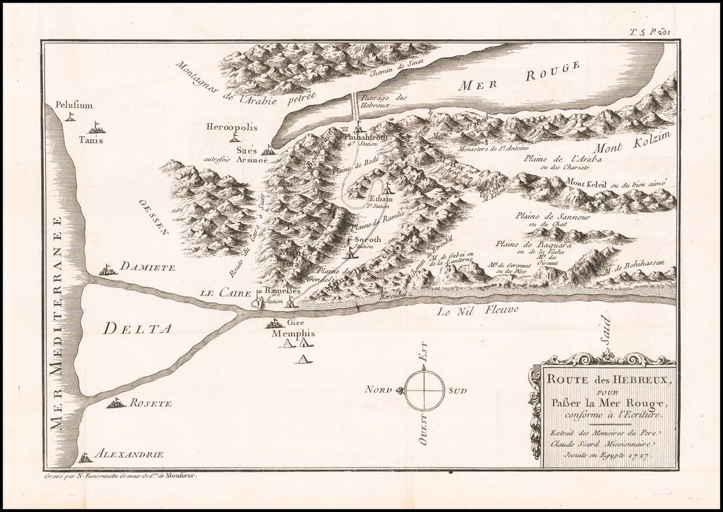 Route des Hebreux pour Passer la Mer Rouge conforme a l'Ecriture.  Extrait des Memoires Pere Claude Sicard Missionnaire Jesuite en Egypte 1727 By Claude-Auguste du Berey