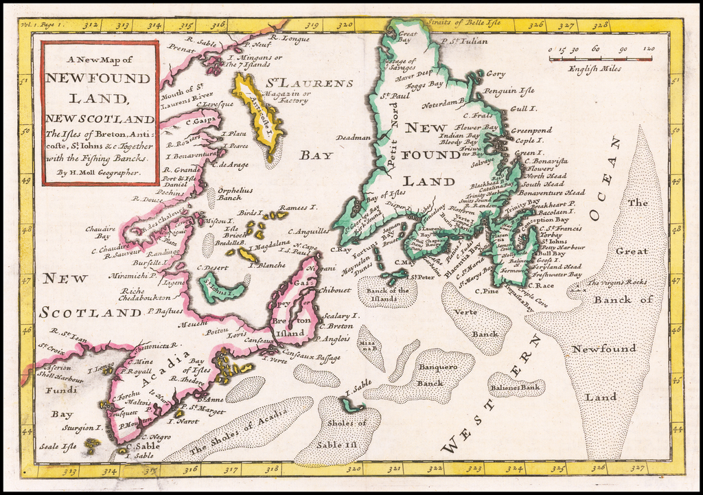 A New Map of Newfoundland, New Scotland The Isles of Breton, Anticoste, St. Johns &c. Together wit the Fishing Banks . . . By Herman Moll