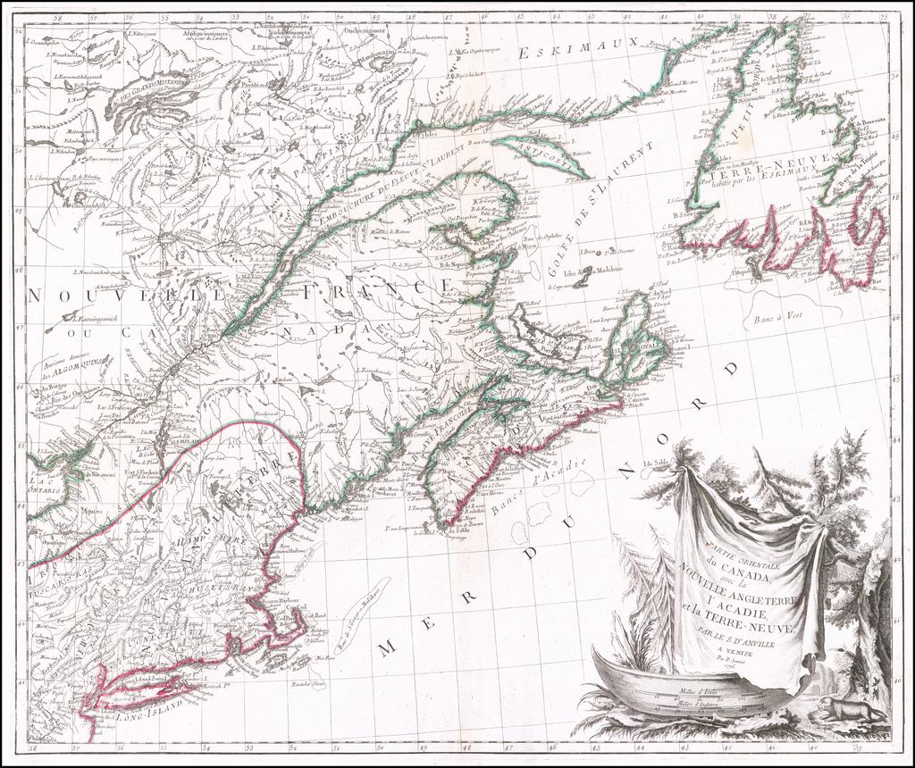 Partie Orientale du Canada, avec la Nouvelle Angleterre, l'Acadie, et la Terre-Neuve, par le S. D'Anville . . . 1776 By Paolo Santini