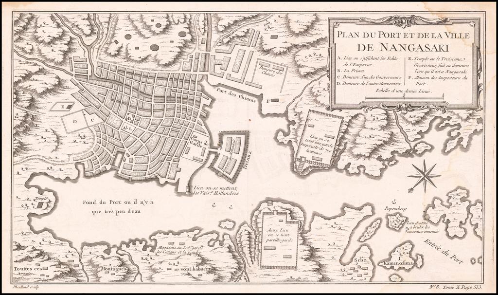 Plan Du Port et De La Ville De Nangasaki By Jacques Nicolas Bellin