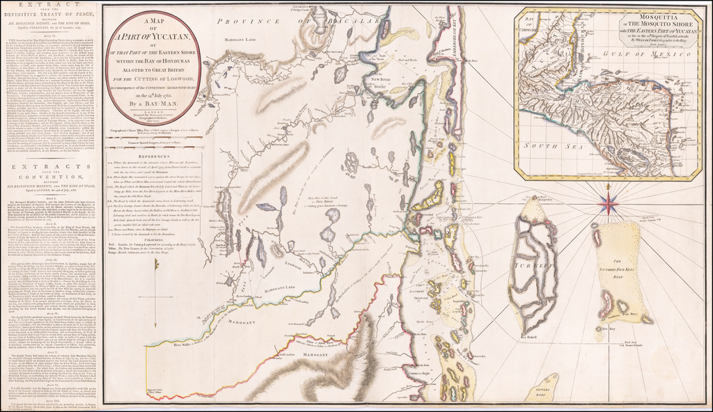 [Belize]  A Map of A Part of Yucatan or of that Part of the Eastern Shore within the Bay of Honduras Allotted to Great Britain for the Cutting of Logwood, in consequence of the Convention Signed with Spain on the 14th July 1786.  By a Bay-Man . . . 1787 [with Additional Text Panel] By William Faden