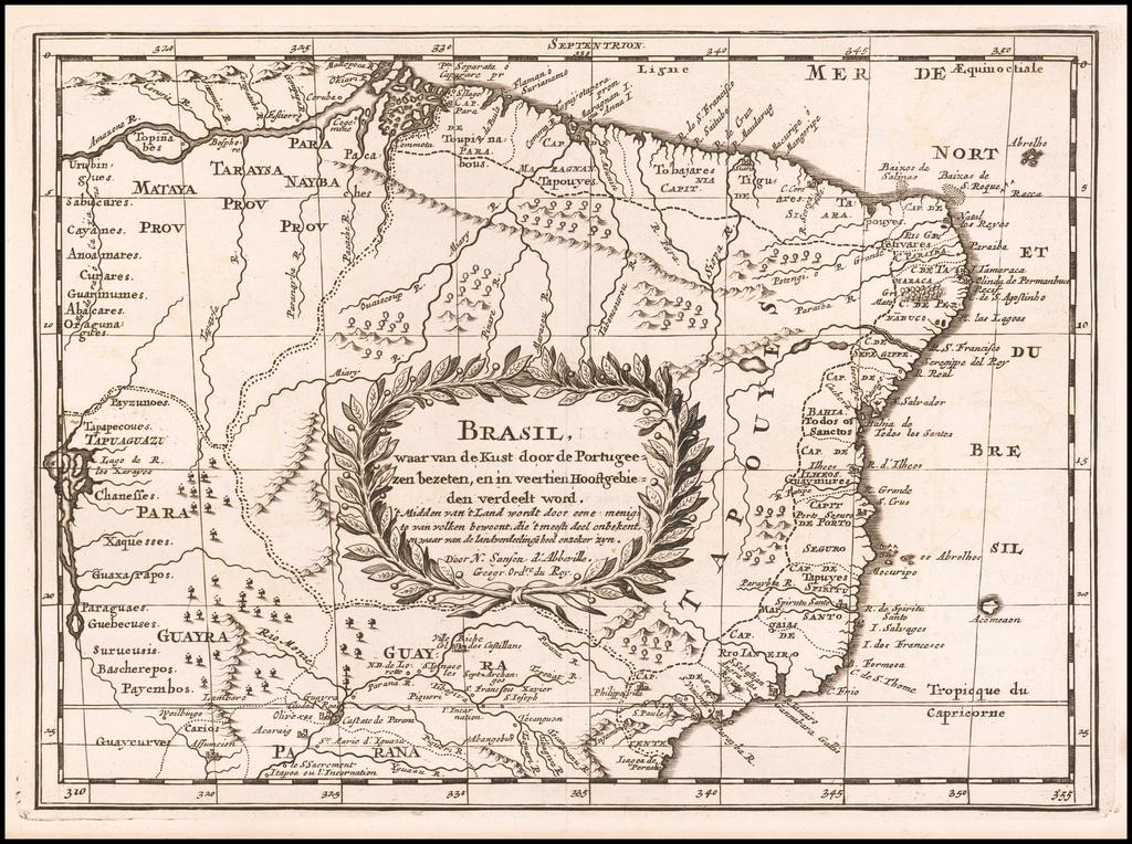 Brasil, waar van de Kustdoor de Portugeezen bezeten, en in veertigien Hoostgebieden verdeelt word . . .  By Nicolas Sanson