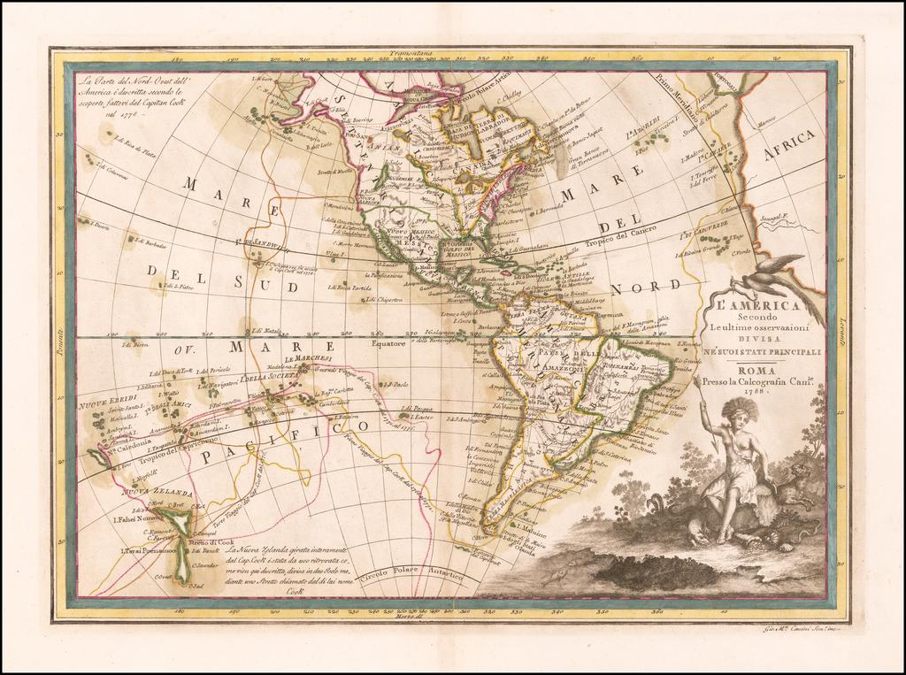 L'America Secondo Le ultime osservazioni Divisa Ne' Suoistati Principali . . .  1788 By Giovanni Maria Cassini