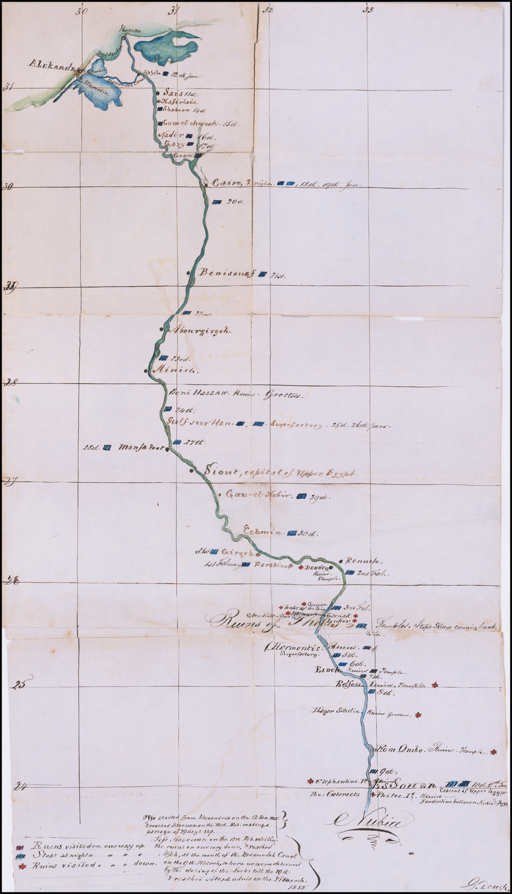 [Manuscript Map of Nile River Expedition in 1855] By Anonymous