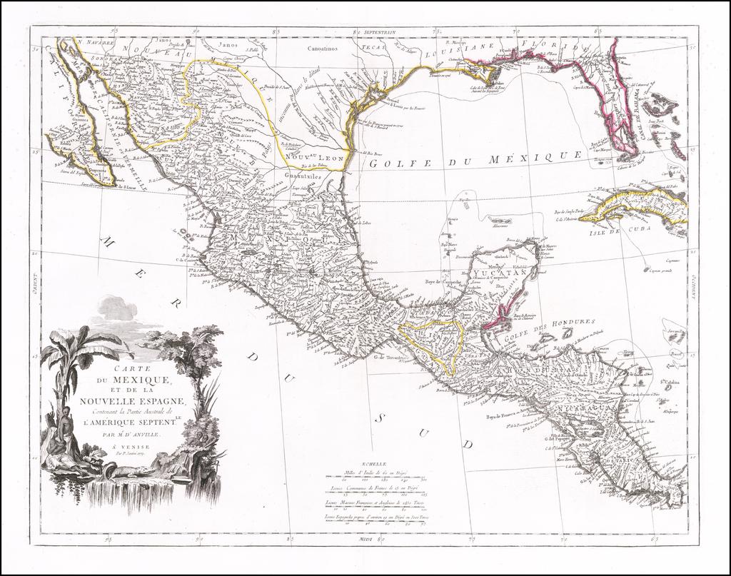 Carte du Mexique et de la Nouvelle Espagne Contenant Le Partie Australe de L'Amerique Septentle. . . . 1779 By Paolo Santini