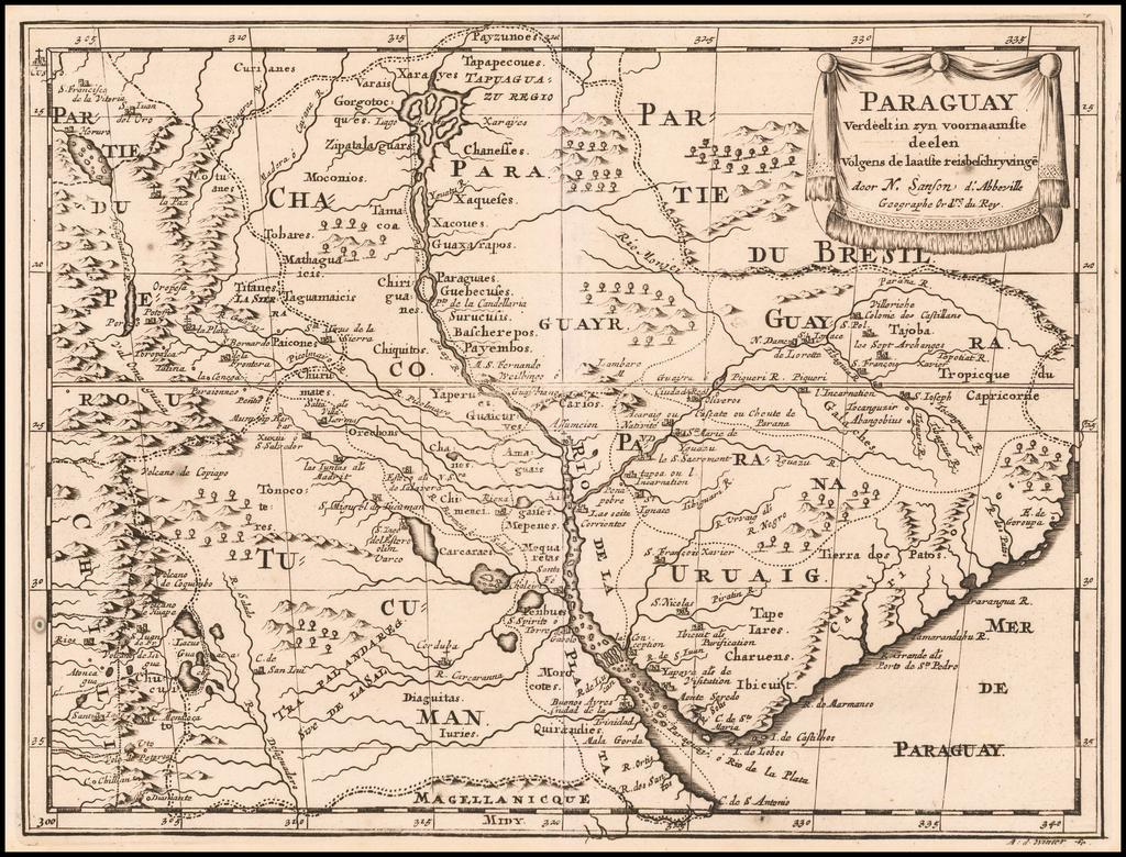 Paraguay Verdeelt in zyn voornaamste deelen Volgens de laatste reisbeschryvinge . . . By Nicolas Sanson