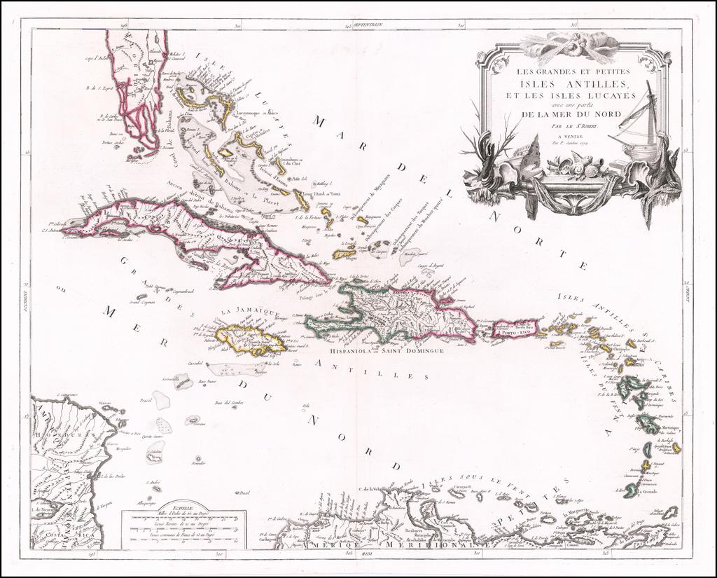 Les Grandes Et Petites Antilles, Et Les Isles Lucayes avec ue partie De La Mer Du Nord . . . 1779 By Paolo Santini