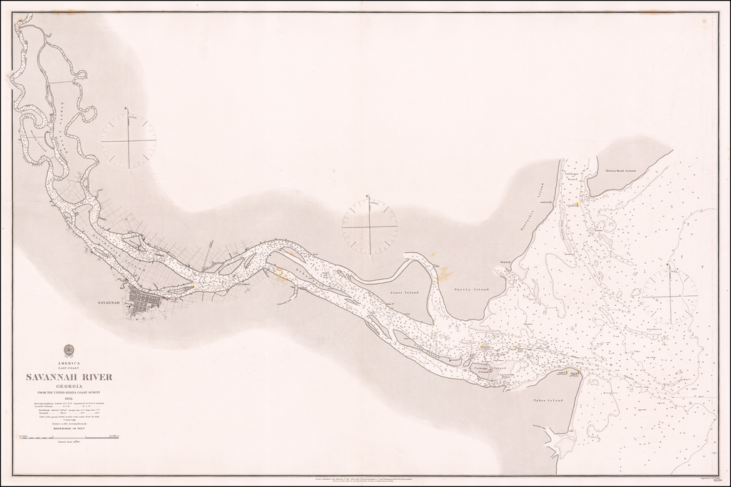 Savannah River Georgia From The United States Coast Survey 1855 . . .  By British Admiralty