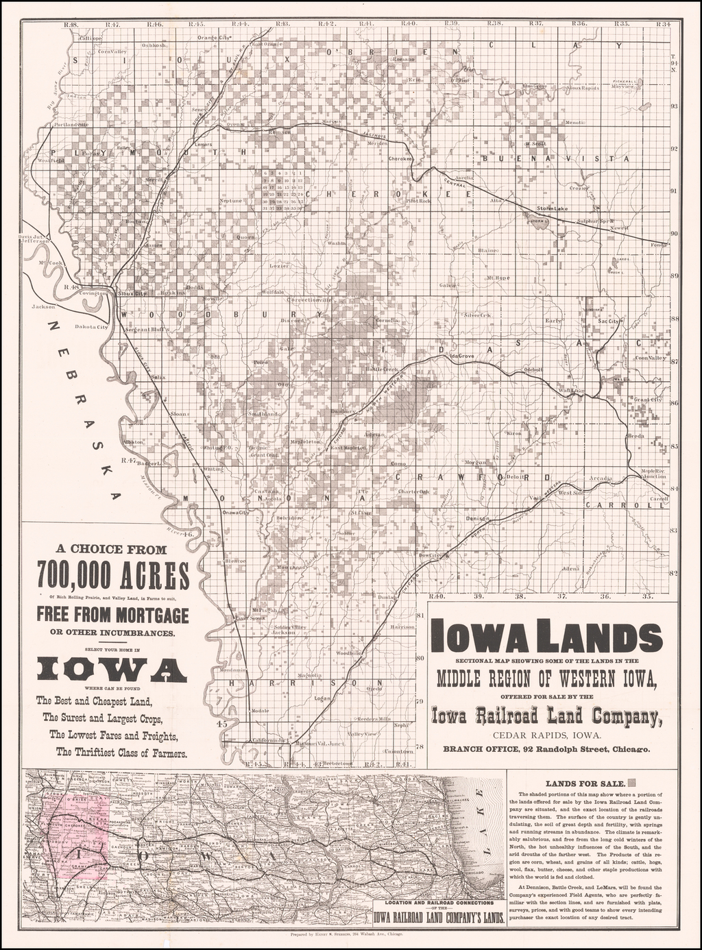 Iowa Lands Sectional Map Showing Some Of The Lands In The Middle Region of Western Iowa, Offered For Sale By Iowa Railroad Land Company, Cedar Rapids, Iowa . . . . By Henry S. Stebbins