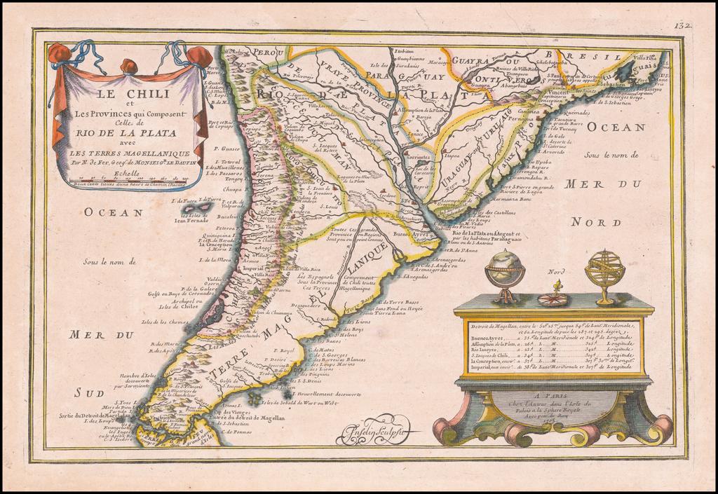 Le Chili et Les Provinces qui Composent Celle de Rio De La Plata avec Les Terres Magellanique . . . 1705 By Nicolas de Fer