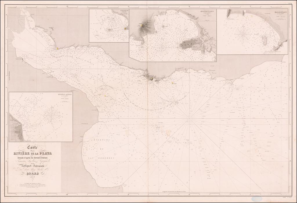 Carte de la Riviere de la Plata dressee d'apres derniers travaux Francais, Anglois & Espagnoes . . . 1857 By Aime Robiquet