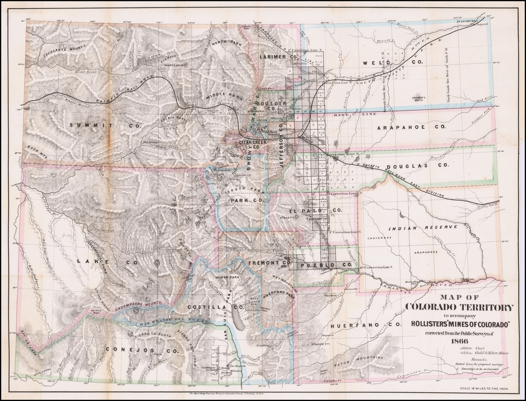 "Map of Colorado Territory to accompany Holisters ""Mines of Colorado"" corrected from the Public Surveys of 1866.  (with text) By Major & Knapp"
