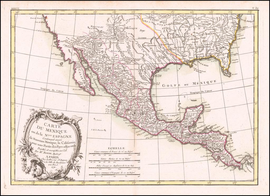Carte Du Mexique ou de la Nlle. Espagne Contenant aussi le Nouveau Mexique, la Californie, avec une Partie des Pays adjecents . . . 1771 By Jean Lattre