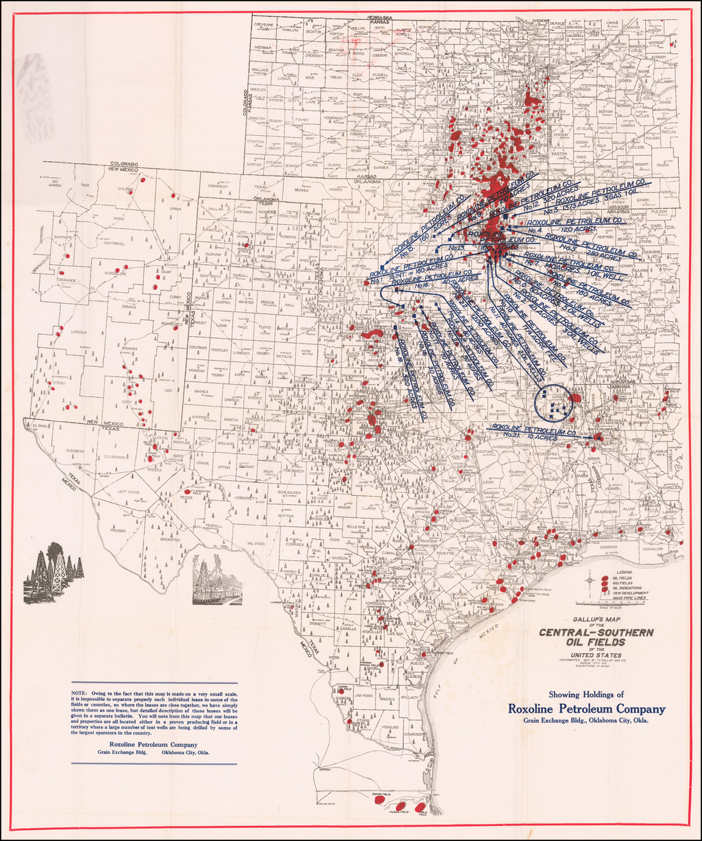 Gallup's Map of the Central-Southern Oil Fields of the United States | Showing Holdings of Roxoline Petroleum Company, Grain Exchange Bldg., Oklahoma City, Okla. By F.E. Gallup