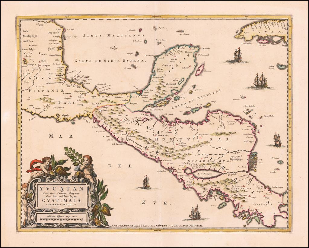 Yucatan Conventus Iuridici Hispaniae Novae Pars Occidenalis, et Guatimala Conventus Iuridicus   By Pieter Mortier