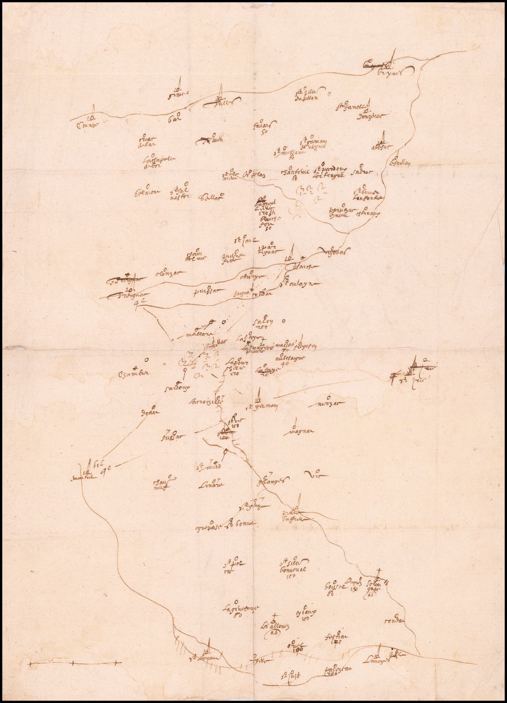 [Viscounty of Limoges]  (Manuscript map of Southern Limousin] By Anonymous