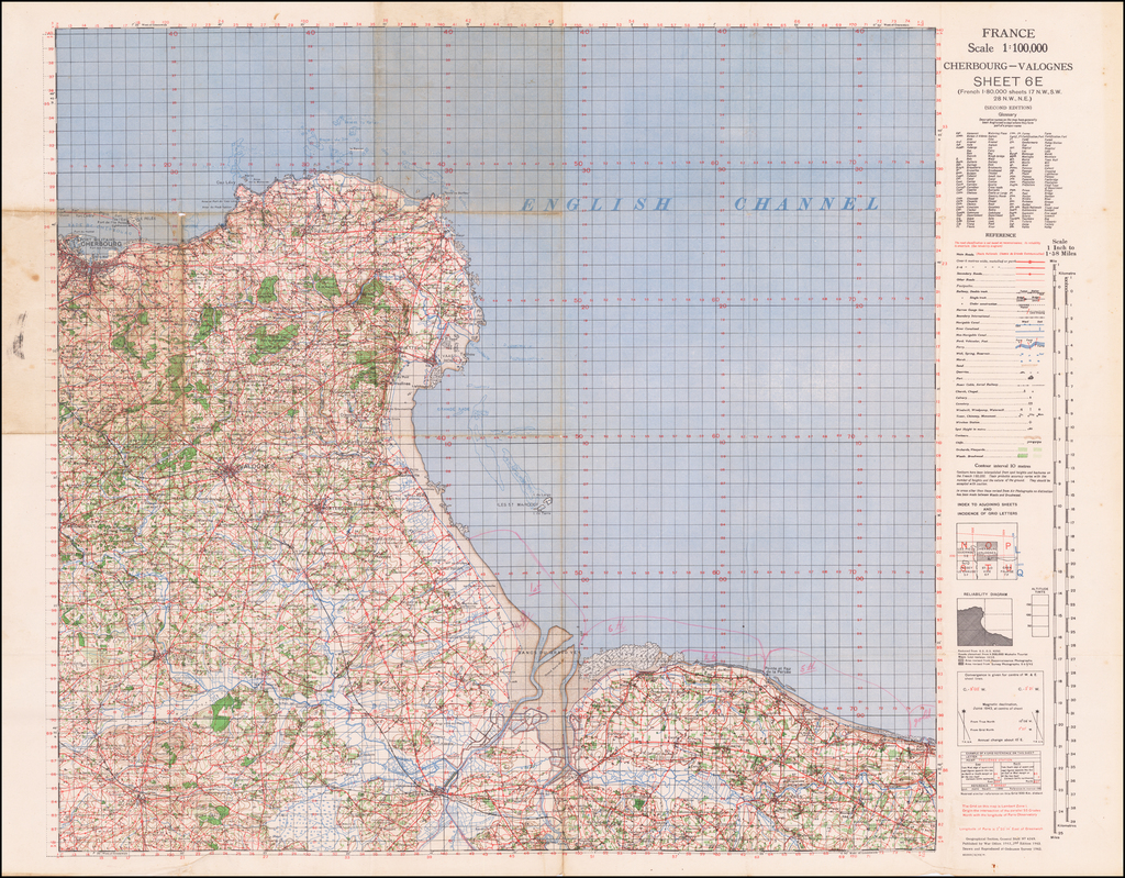 (Second World War - D-Day) France Scale 1:100,000 Cherbourg-Valognes Sheet 6E... (Second Edition) [with manuscript additions] By Geographical Section, War Office (UK)
