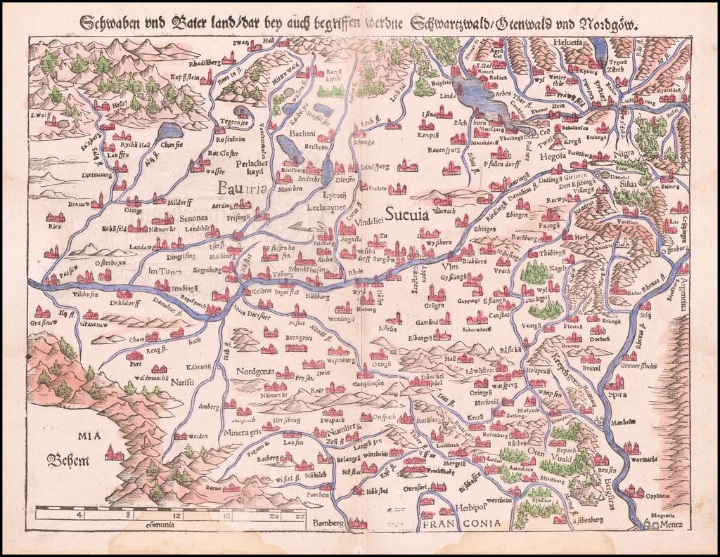 [Bavaria, Suabia, Franconia, etc.]  Schwaben und Baier Land  /Dar bey auch begriffen werdne Schwartzwald / Otenwald und Nordgow  By Sebastian Münster
