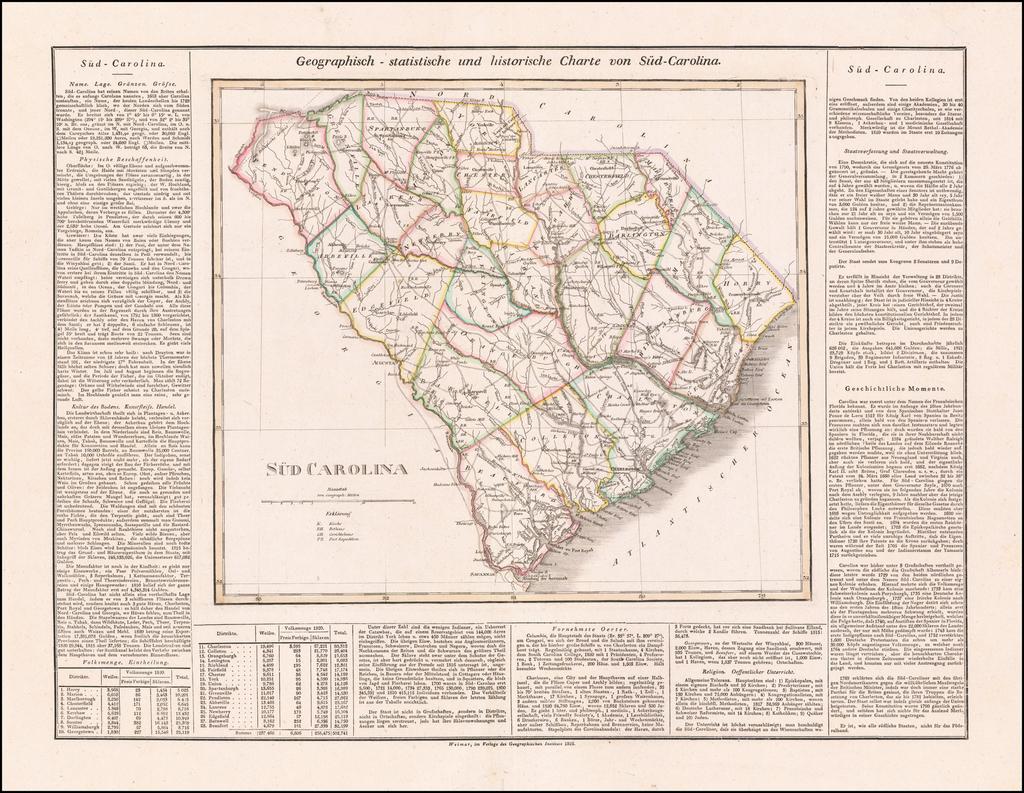Geographisch-statistische und historische Charte von Sud Carolina By Carl Ferdinand Weiland