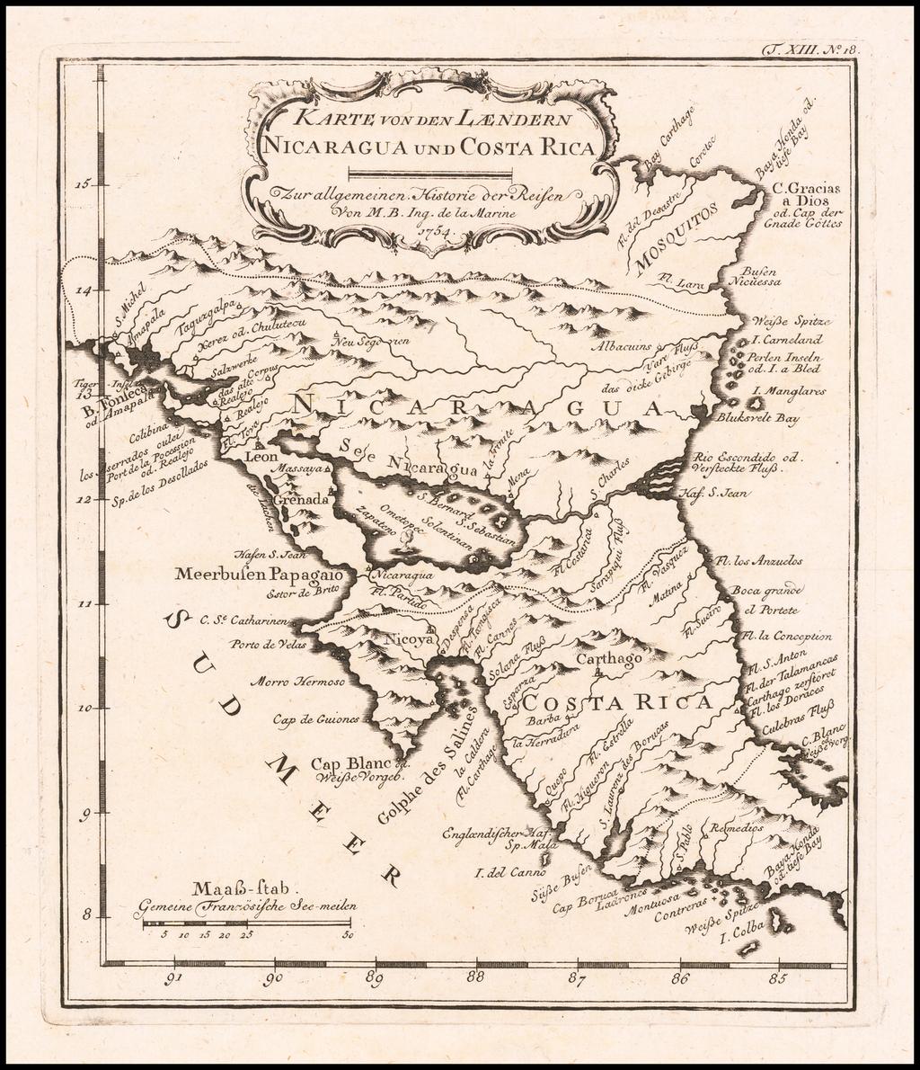 Karte von den Laendern Nicaragua und Costa Rica . . . By Jacques Nicolas Bellin