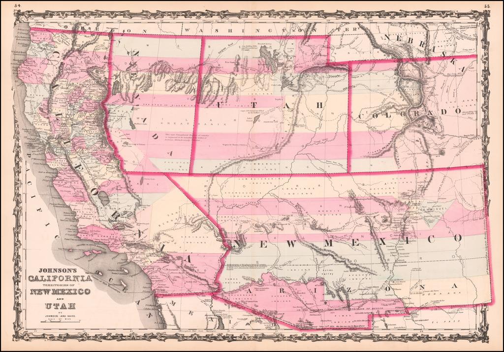 Johnson's California, Territories of New Mexico and Utah By Alvin Jewett Johnson  &  Browning