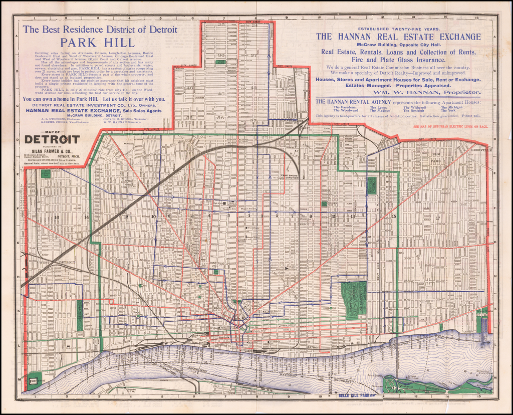Map of Detroit Published By Silas Farmer & Co. / Map of Suburban Railways in Southeastern Michigan By Silas Farmer & Co.