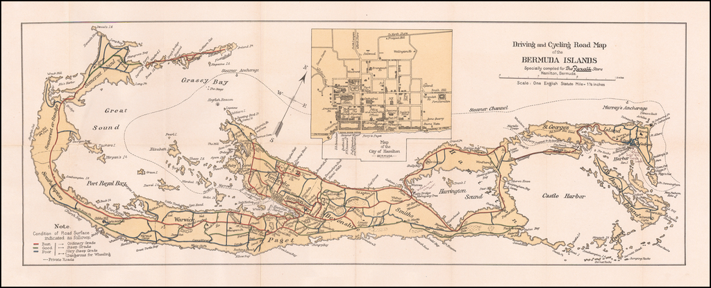Driving and Cycling Road Map of the Bermuda Islands Specially compiled for the Rexall Store Hamilton Bermuda By Anonymous