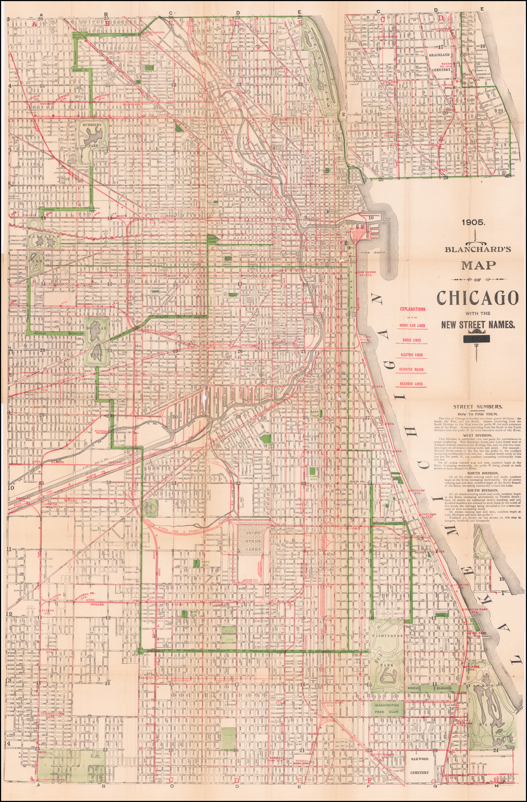 Blanchard's Map of Chicago with the New Street Names. 1905 By Rufus Blanchard