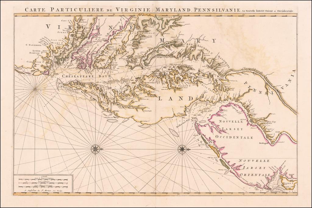 Carte Particuliere de Virginie, Maryland, Pennsilvanie, La Nouvelle Jarsey. Orient et Occidentale  By Pieter Mortier