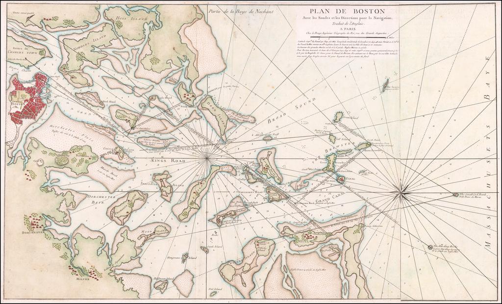 Plan De Boston Avec les Sondes et les Directions pour Navigation  . . . By George Louis Le Rouge