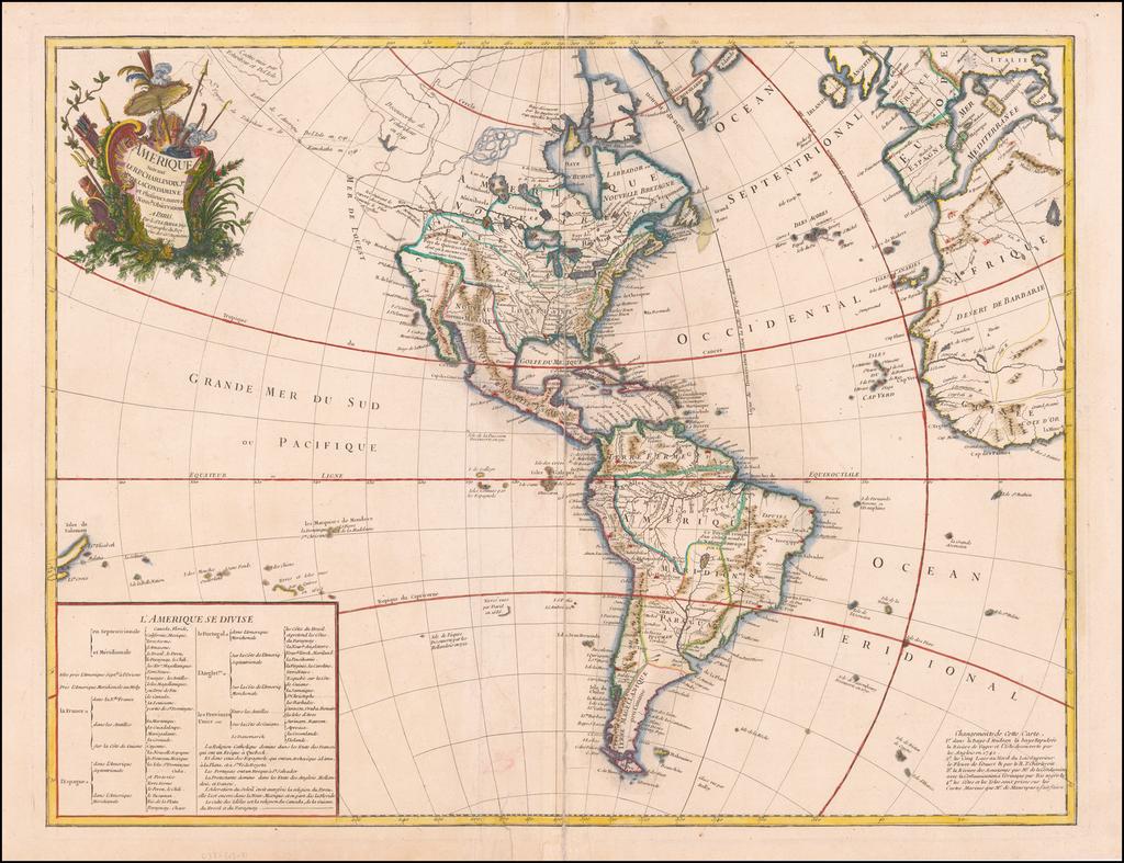 L'Amerique Suivant Le R.P.Charlevoix Jte. Mr. De La Condamine et Plusieurs autres Nouvle. Observations . . . 1746 By George Louis Le Rouge