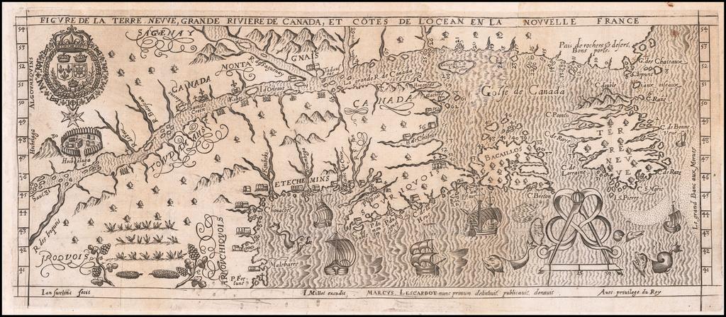 Figure De La Terre, Neuve, Grande Riviere De Canada, Et Côtes De L'Ocean En La Nouvelle France By Marc Lescarbot