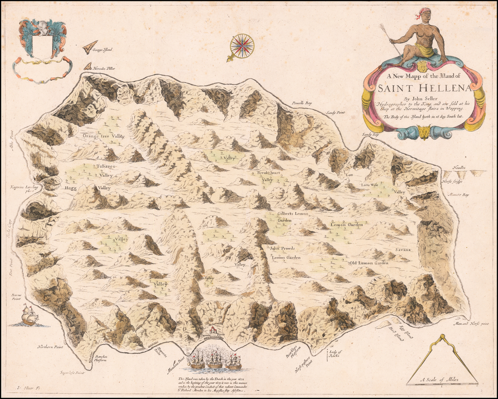 A New Mapp of the Island of Saint Hellena By John Seller Hydrographer to the King . . .  By John Seller